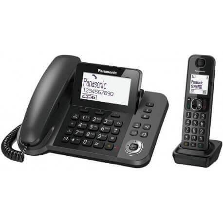 Σταθερό Ψηφιακό Τηλέφωνο Panasonic KX-TGF310EXM Μαύρο + Ασύρματο Ψηφιακό Τηλέφωνο Duo