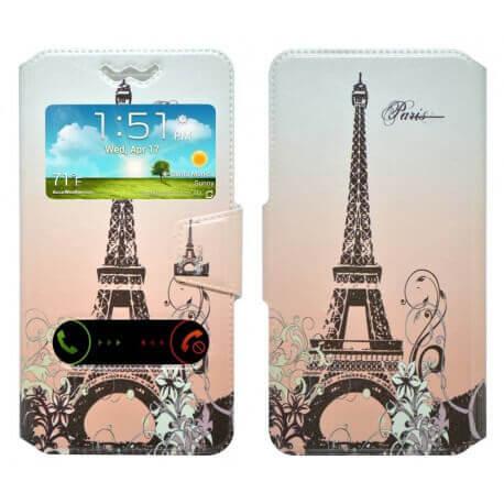 """Θήκη Book Ancus S-View Elastic Art Collection Universal για Smartphone 4.9"""" - 5.2"""" Paris Μπέζ"""