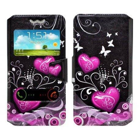 """Θήκη Book Ancus S-View Elastic Art Collection Universal για Smartphone 4.9"""" - 5.2"""" Heart Μαύρη"""