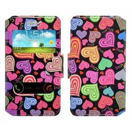 """Θήκη Book Ancus S-View Elastic Art Collection Universal για Smartphone 5.2"""" - 5.5"""" Love"""