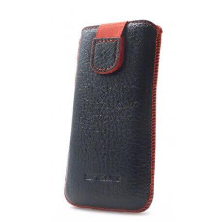 Θήκη Protect Ancus για Apple iPhone 5/5S/5C Δέρμα Μαύρη με Κόκκινη Ραφή