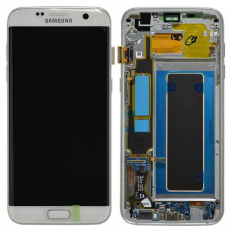 Γνήσια Οθόνη & Μηχανισμός Αφής Samsung SM-G935F Galaxy S7 Edge Λευκό με Πλαίσιο και Επαφή Φόρτισης GH97-18533D