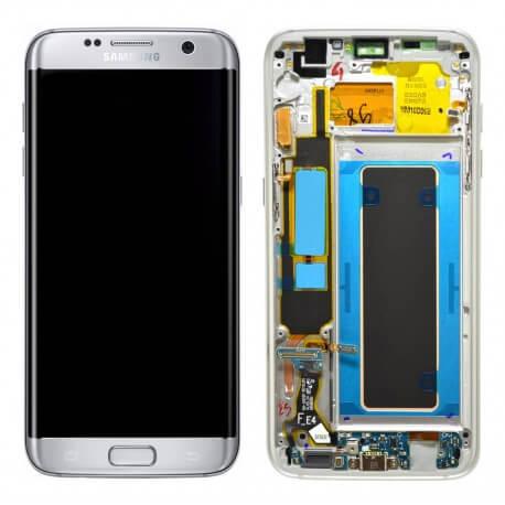 Γνήσια Οθόνη & Μηχανισμός Αφής Samsung SM-G935F Galaxy S7 Edge Ασημί με Πλαίσιο και Επαφή Φόρτισης GH97-18533B