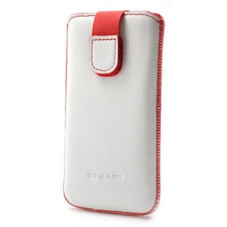 Θήκη Protect Ancus για Samsung SM-G900F Galaxy S5 Δέρμα Λευκή με Κόκκινη Ραφή