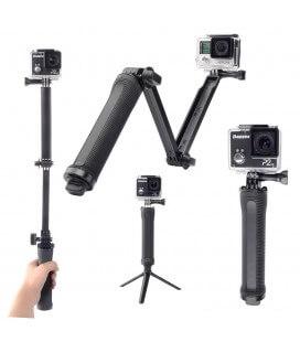 Selfie Stick Monopod 3-Way για GoPro και Φωτογραφικές Μηχανές Πτυσσόμενο Μαύρο (Μήκος Κονταριού 20cm, Μήκος Ανοίγματος 62cm)