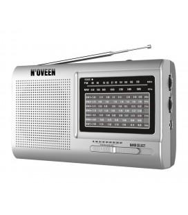 Φορητό Ραδιόφωνο N'oveen PR651 2W Ασημί με 9 Ραδιοφωνικές Ζώνες και Τροφοδοσία Ρεύματος και Μπαταρίας
