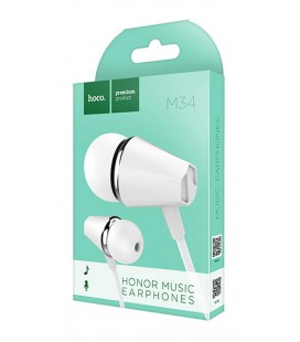 Hands Free Hoco M34 Earphones Stereo 3.5 mm Λευκό με Μικρόφωνο και Πλήκτρο Λειτουργίας