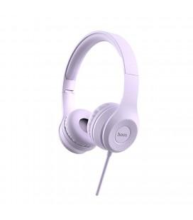 Ακουστικά Stereo Hoco W21 Graceful Charm με Μικρόφωνο Μωβ