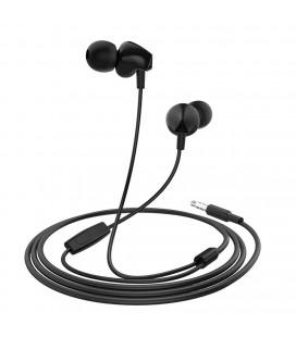 Hands Free Hoco M60 Perfect Sound Earphones Stereo 3.5 mm Μαύρα με Μικρόφωνο και Πλήκτρο Λειτουργίας