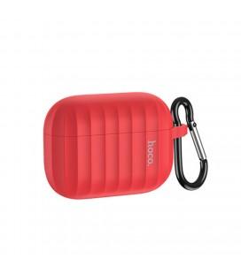 Θήκη Hoco WB20 Fenix Liquid Silicone Protective Κόκκινη για Airpods Pro με Λουράκι