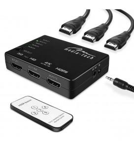 HDMI Switch Media-Tech MT5207 5 θέσεων με υποστήριξη ανάλυσης 4K και Τηλεχειριστήριο. Μαύρο