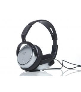 Ακουστικά Stereo TV Philips SHP2500 3.5 mm Ασημί - Μαύρo με Αντάπτορα 6.3 mm και Καλώδιο 6 m για Συσκευές Ήχου