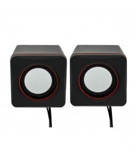 Ηχείο Stereo Multimedia Leerfei D-02L με σύνδεση 3.5mm και USB φόρτιση, Μαύρο Κόκκινο