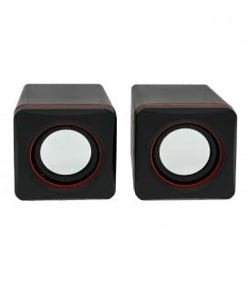 Ηχείο Stereo Multimedia Leerfei D-02A με σύνδεση 3.5mm και USB φόρτιση, 5W Μαύρο Κόκκινο