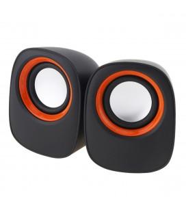 Ηχείο Stereo Multimedia Leerfei D-05A με σύνδεση 3.5mm και USB φόρτιση, 5W Μαύρο-Πορτοκαλί