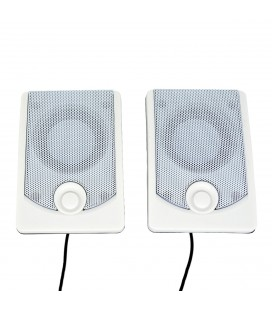 Ηχείο Stereo Multimedia Leerfei K37 Perfect Sound 2X3W με Ενσωματωμένο Amplifier και Σύνδεση 3.5mm και USB φόρτιση, Μαύρο-Λευκό