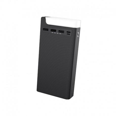 Power Bank Hoco J62 Jove 30000mAh με 3 Θύρες USB 2A και Επιτραπέζιο Φωτιστικό Μαύρο