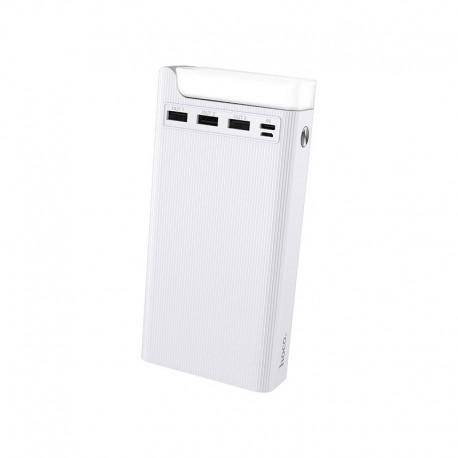 Power Bank Hoco J62 Jove 30000mAh με 3 Θύρες USB 2A και Επιτραπέζιο Φωτιστικό Λευκό