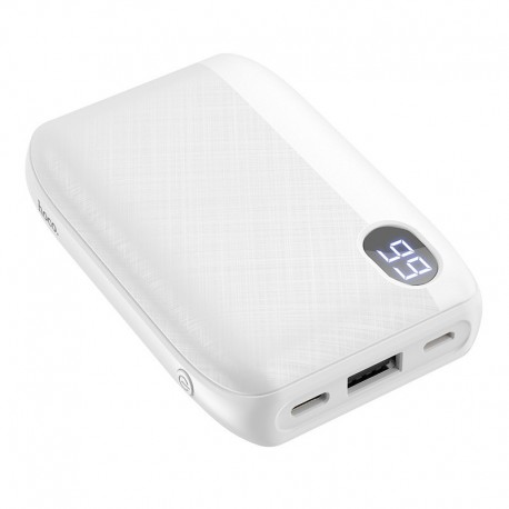Power Bank Hoco J53 Exceptional 10000mAh USB 2A και LED Ψηφιακή Ένδειξη Μπαταρίας με Υφασμάτινο Περίβλημα Λευκό