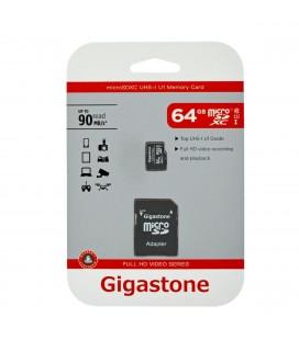Κάρτα Μνήμης Gigastone MicroSDXC UHS-1 64GB C10 Full HD Video Series με SD Αντάπτορα up to 90 MB/s*