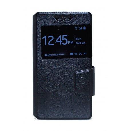 """Θήκη Book Ancus S-View Elastic Universal για Smartphone 4.5"""" - 4.8"""" με Παράθυρο Μαύρη"""