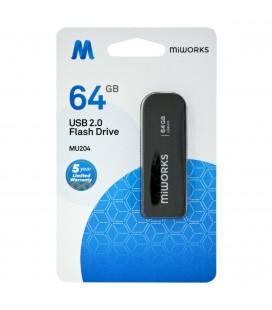 Flash Drive MiWorks MU204 64GB USB 2.0 Μαύρο