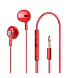Hands Free Lenovo HF140 Earphones Stereo 3.5mm με Μικρόφωνο, Πλήκτρο Λειτουργίας και Ισχυρό Ήχο Κόκκινο