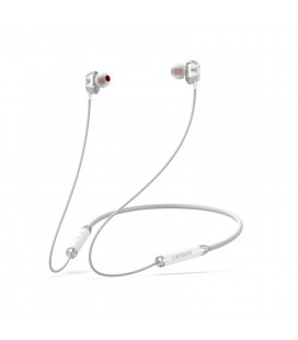 Wireless Stereo Ακουστικά Lenovo HE08 V.5.0 Μαγνητικά με 120 ώρες Αναμονής και Διπλό Πηνίο Λευκό