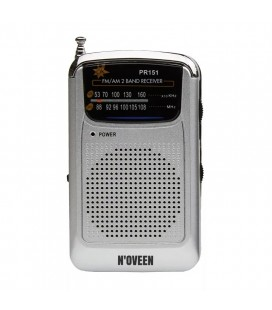 Φορητό Ραδιόφωνο N'oveen PR151  AM/FM, με Υποδοχή Ακουστικών 3.5mm,με Λειτουργία  Μπαταρίας 2 x 1,5V AAA  Ασημί