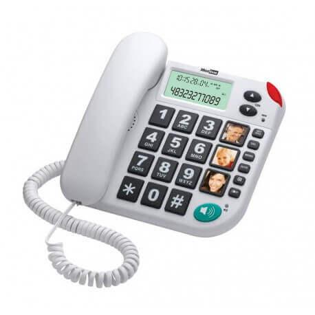 Σταθερό Ψηφιακό Τηλέφωνο Maxcom KXT480 Λευκό με Οθόνη, Ένδειξη Εισερχόμενης Κλήσης Led και Μεγάλα Πλήκτρα