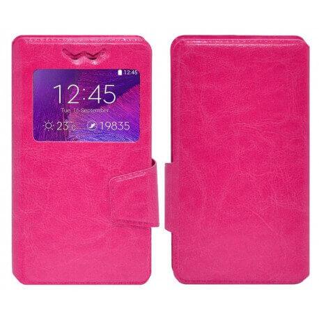 """Θήκη Book Ancus S-View Elastic Universal για Smartphone 5.7"""" - 6.0"""" με Παράθυρο Φούξια"""