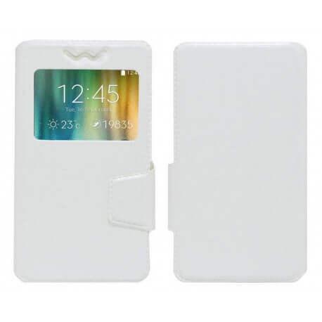 """Θήκη Book Ancus S-View Elastic Universal για Smartphone 5.7"""" - 6.0"""" με Παράθυρο Λευκή"""