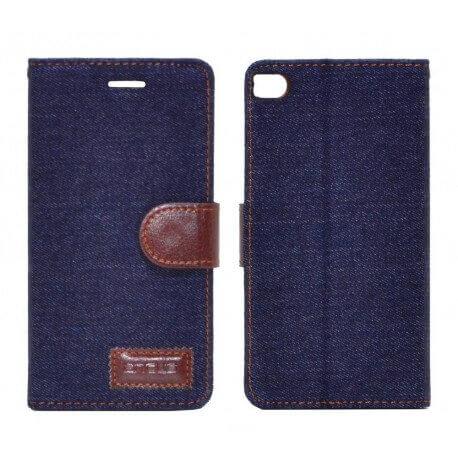 Θήκη Book Ancus Teneo Fabric για Huawei Ascend P8 Μαύρη