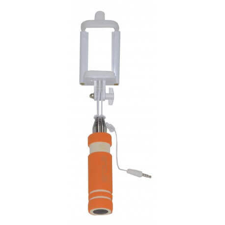 Selfie Stick Ancus Classic Mini Πορτοκαλί με Καλώδιο Jack 3.5mm (Μήκος Κονταριού 13.5cm, Μήκος Ανοίγματος 53.5cm)