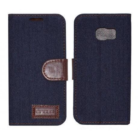 Θήκη Book Ancus Teneo Fabric για Samsung SM-G925F Galaxy S6 Edge Σκούρο Μπλε
