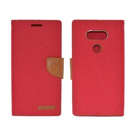 Θήκη Book Goospery Canvas Diary για LG G5 H850 Κόκκινη - Καφέ by Mercury