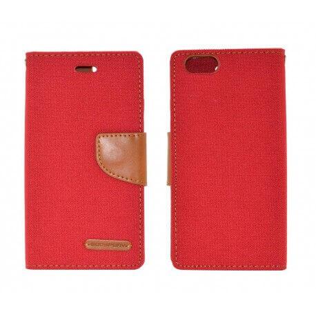 Θήκη Book Goospery Canvas Diary για Apple iPhone 6/6S Κόκκινο - Καφέ by Mercury