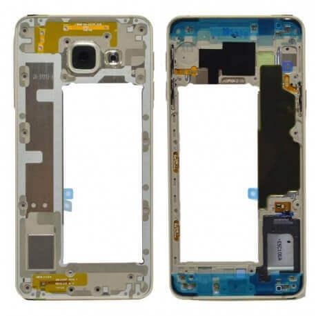 Μεσαίο Πλαίσιο Samsung SM-A310F Galaxy A3 (2016) με Buzzer και Πλήκτρο On/Off, Έντασης Χρυσαφί Original GH97-18074A