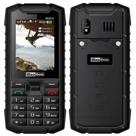 Maxcom Strong MM916 3G (Dual Sim) Water-dust proof IP67 με Bluetooth, Φακό, Ραδιόφωνο και Κάμερα Μαύρο